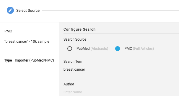 Screenshot PubMed/PMC Import